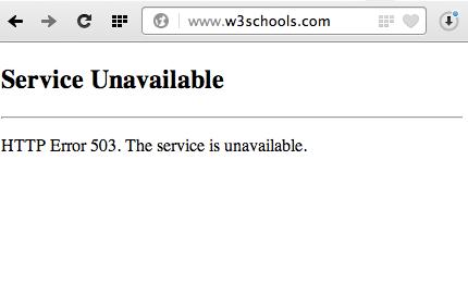 w3schools error 503 service unavailable