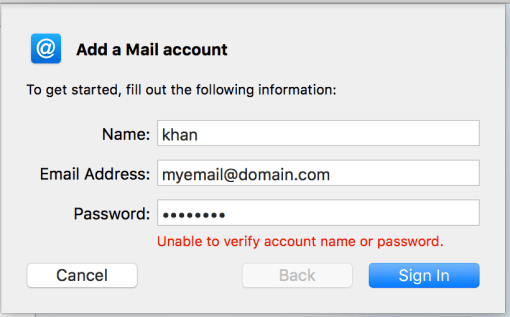 unable to verify username or password zoho mail mac