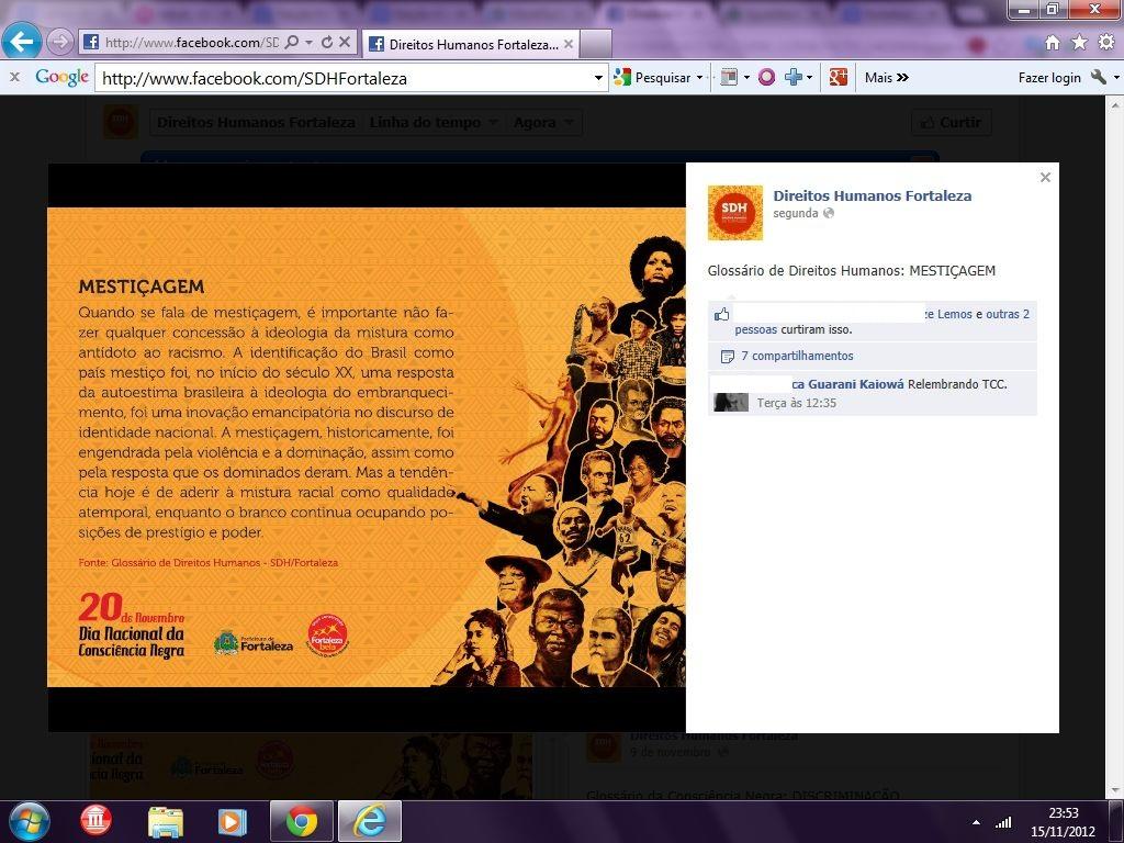 Material mestiçofóbico divulgado pela Prefeitura de Fortaleza.