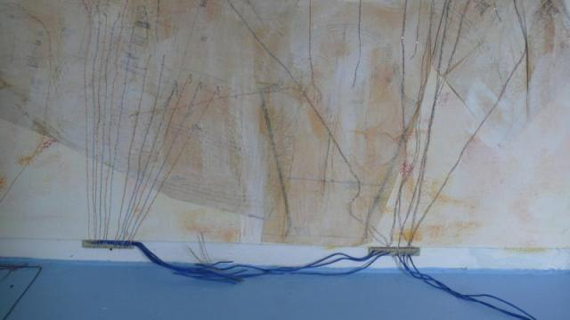 VP2, Naccarato, 2009 - Lower Left Wall, Detail - painted floor, canvas, electrical and coaxial wire