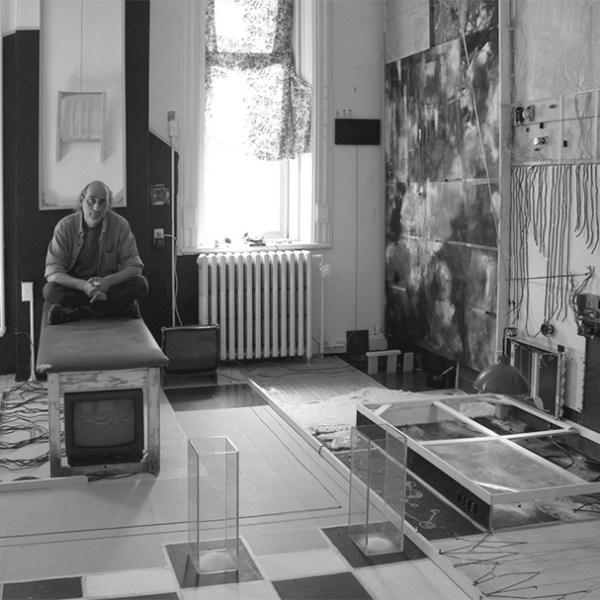 Image 03: John Naccarato, Vertebra, Part 2: The Skinning of Memory (VP2) 20'W x 17'H x 16'D, Installation. Partial overview of VP2: left center. Artist Studio, University of Ottawa, Ottawa, Canada