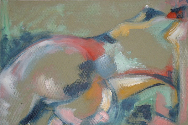 """untitled nude, figurative studies, oil on paper, 18"""" x 12"""", naccarato, Montreal, 2003"""