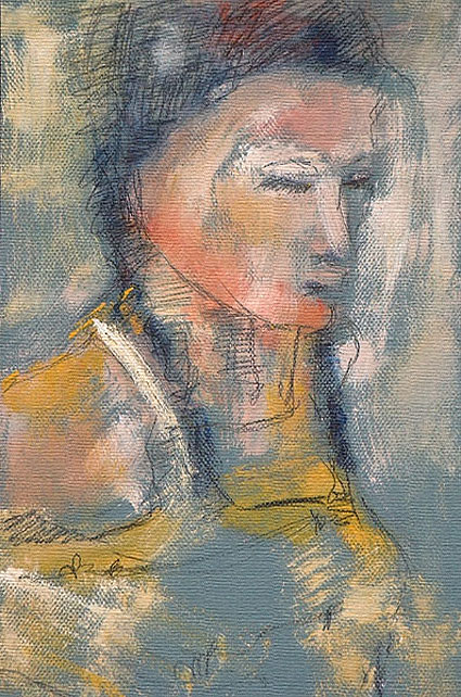 Portrait #02, Beyond Impressionism, Oil, Lead on Paper, 12″ x 18″, Montreal, Naccarato, 2003