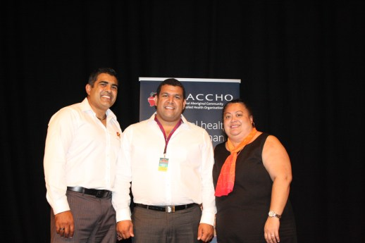 Pictured L to R Justin Mohamed (outgoing NACCHO Chairperson), Matthew Cook (NACCHO Chairperson) and Lisa Briggs (CEO).
