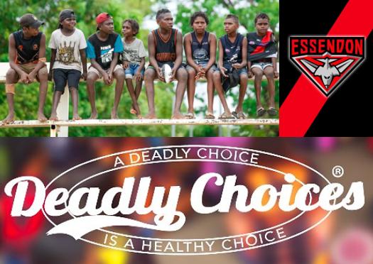 8 Tiwi Island boys sitting in row with a football, Essendon Football Club logo, Deadly Choices logo