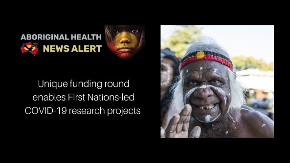 feature tile - older Aboriginal man with Aboriginal flag sweatband & ceremonial paint on face waving to camera