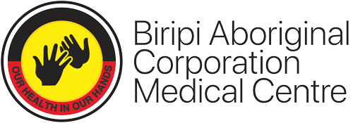 Biripi Aboriginal Corporation Medical Centre logo silhouette of two black hand overlapping inside yellow circle inside border top half black, bottom half red with words Our Health In Our Hands