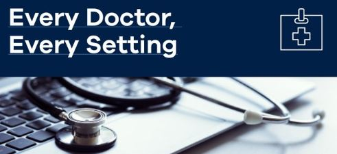 Every Doctor, Every Setting banner - stethoscope sitting on keyboard