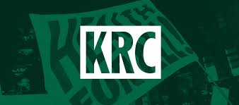 Kirkton Road Centre logo, white letters KRC against green background