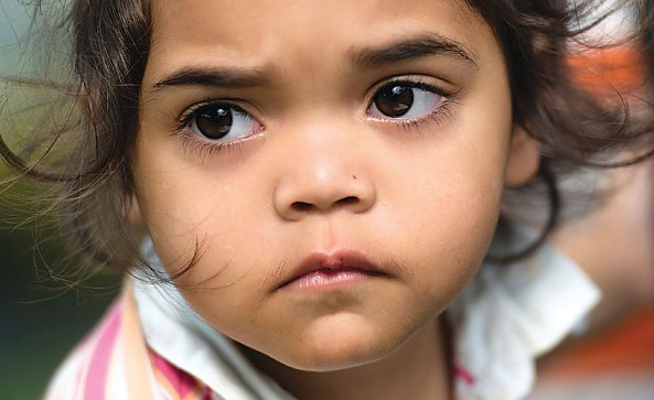 sad face of young Aboriginal girl