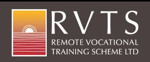 RVTS logo, vector of white sun rising or setting yellow sky, red earth
