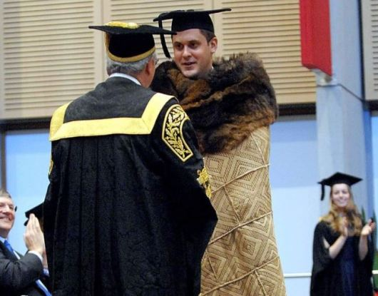 Wiradjuri man Lachlan McDaniel graduating from arts/law degree