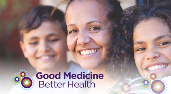 portrait shot Aboriginal woman and Aboriginal boy and girl, Good Medicine Better Health banner