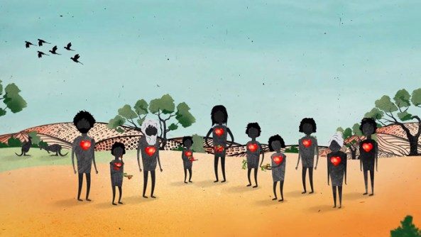painting of 10 Aboriginal figures with outline of red heart on chests against landscape