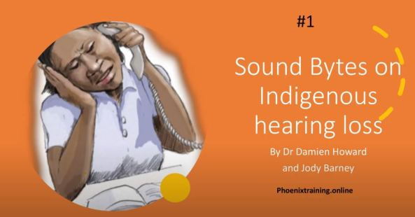 cartoon of Aboriginal woman trying to hear on a telephone