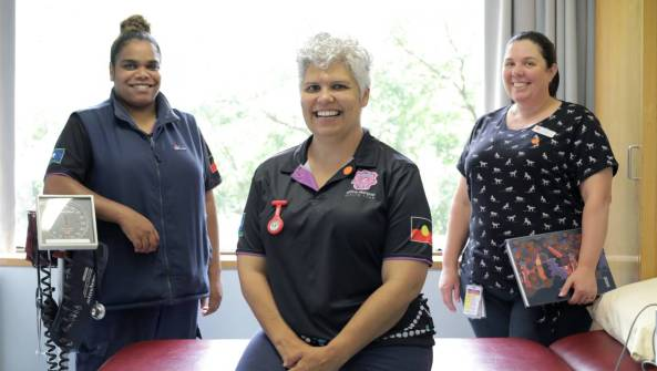 Aboriginal Liaison officer Kristy-Lee White, Binya Wiyangara Midwife Kaarina Paasila and Aboriginal Mental Health Worker for Perinatal & Infant Mental Health Service Heidi Duncan