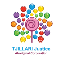 Tjillari Justice Aboriginal Corporation logo, vector image of pick lollipo surrounding by coloured dots yellow, red, blue, orange, purple