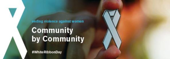 White Ribbon Day banner - ending violence against women Community by Community #WhiteRibbonDay - hand in background holding white ribbon badge to front of image