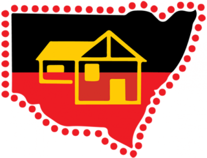 outline of NSW, top black, bottom red, middle yellow house, state surrounded by red dots