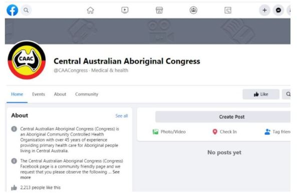screen shot of Central Australian Aboriginal Congress Facebook page