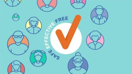 safe effective free vaccines Department of Health banner orange tick in white circle, blue background, circles with vector image of different people's heads, text ' safe effective free