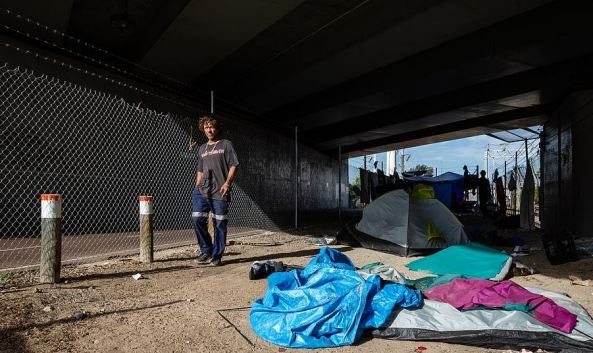 Raymond Ward at Tent City homeless camp in Perth November 2020