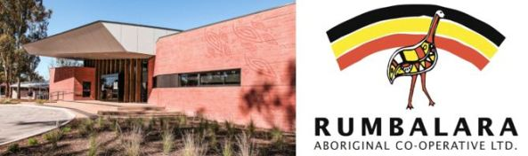 external view of Rumbalara AC VIC & Rumbalara logo outline of emu set against rainbow shape with black, yellow & red colours