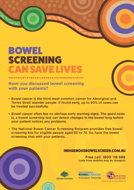 poster text 'bowel screening can save lives have you discussed bowel screening with patients?'