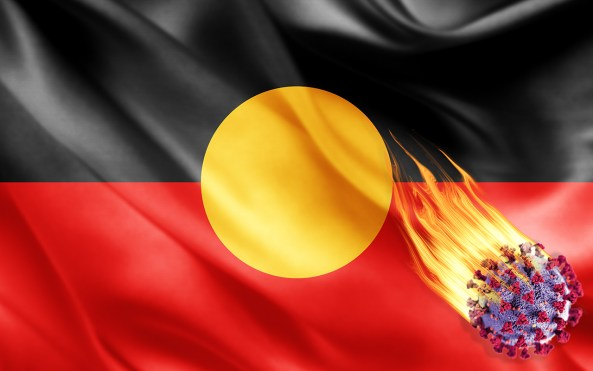 Aboriginal flag with COVID-19 virus cell shooting across image with flames coming from it