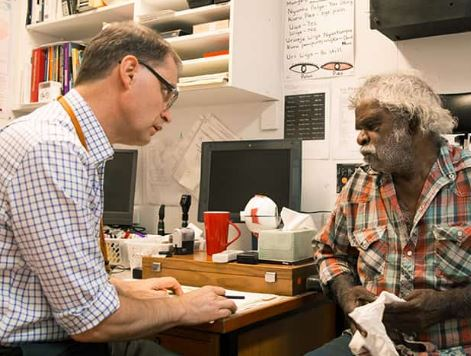 doctor having consult with Aboriginal man