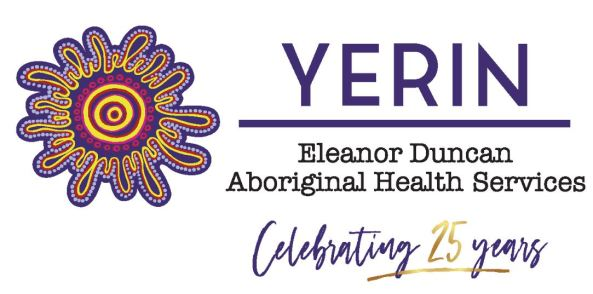 Yerin logo text 'Yerin Eleanor Duncan Aboriginal Health Centre' Celebrating 25 years' & Aboriginal art 3 concentric yellow & purple circles surrounded by a concertina circle