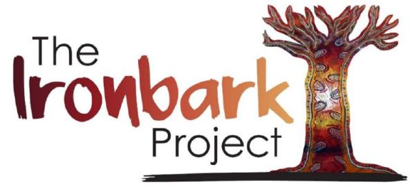 banner text 'The Ironbark Project' drawing of a tree without leaves covered in Aboriginal dot painting