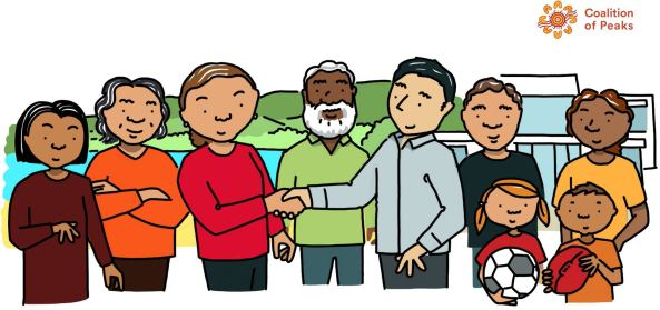 slide from Coalition of Peaks Priority Reform One National Agreement on CtG shared decision-making - cartoon drawing of 6 Aboriginal adults, 2 Aboriginal children, white man shaking hands with Aboriginal woman