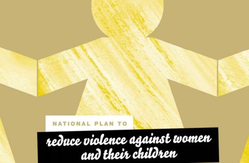 segment of cover of plan with text 'National Plan to reduce violence against women & children' background in yellow paper chain of girl/woman against khaki background