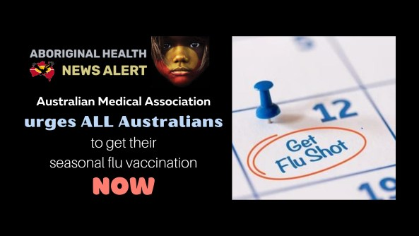 feature tile text 'AMA urges all Australians to get their seasonal flu vaccination NOW' pin in a calendar with 'get flu shot' circles in red
