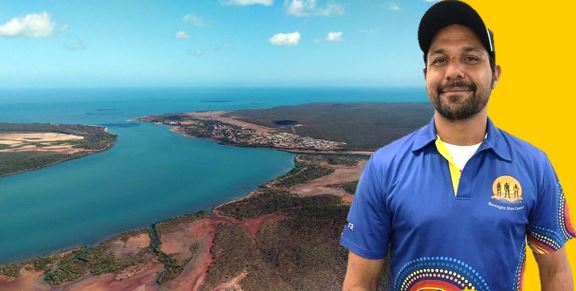 Arial photo of the main township of Mornington Island& Mornington Shire Mayor Kyle Yanner