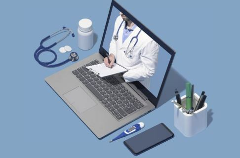 vector image laptop with white coated doctor reaching through the screen writing on a clipboard, either side of laptop is stethoscope, pill bottle, pen holder, thermometer & mobile phone