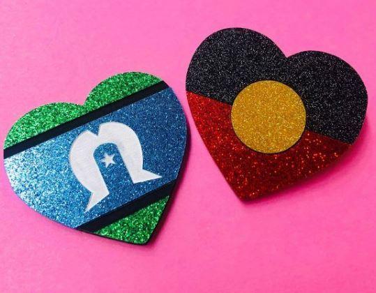 Indigenous Pride Heart Studs Flag: Aboriginal Torres Strait Island One of each Flag