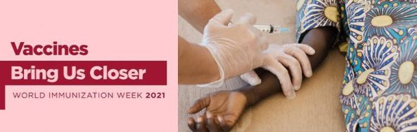 banner text 'Vaccines Bring Us Closer World Immunization Week 2021' text maroon colour, background dusty pink colour & arm of Aboriginal child & gloved hand with syringe holding arm