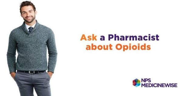 banner man with tie, white shirt grey pullover jumper, black belt, grey pants, text 'Ask a Pharmacist about Opioids - NPS MedicineWise'