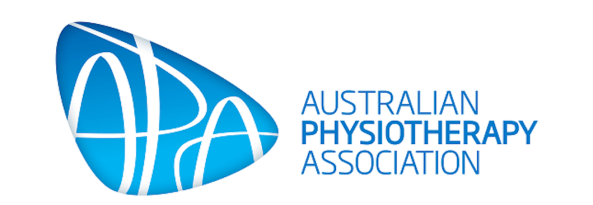logo: text 'Australian Physiotherapy Association' & triangular blue shape with cursive letters APA, all in blue & white
