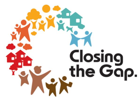 logo text 'closing the gap. ' vector images people houses trees gold blue aqua, red, brown