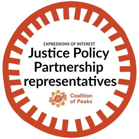 logo - dark orange circle like cog with text ' Expressions of Interest Justice Policy Partnership represenetatives Coalition of Peaks' & CoP logo