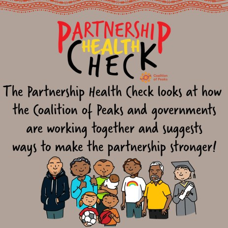 tile text 'PARTNERSHIP HEALTH CHECK' CoP logo, The Partnership HEalth Check looks at how the Coalition of Peaks and governments are working together and suggests ways to make the partnership stronger!