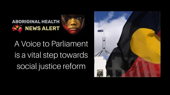 feature tile text ' A Voice to Parliament is a veital step towards social justice reform', image of Aboriginal flag flying in the breeze taking up 2/3's of the image with Parliament House with Australian flag flying in the background