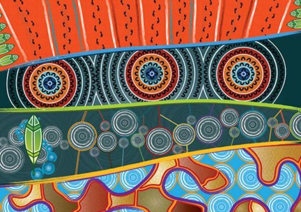 Aboriginal art work orange, aqua, green, yellow, blue, purple, red - 4 horizontal layers