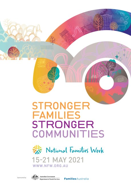 tile text 'Stronger families Stronger communities national families week 15-21 may 2021 www.nfw.org.au' watercolour art houses, trees circle, arch, road