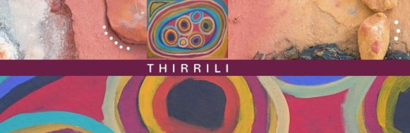 banner text 'Thirrili' aerial shot of multicoloured rock, Thirrili logo & strip of Aboriginal body painting art yellow purple black orange pink