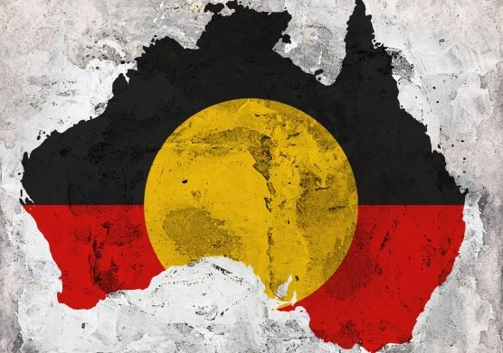 painting of Aboriginal flag in shape of map of Australia
