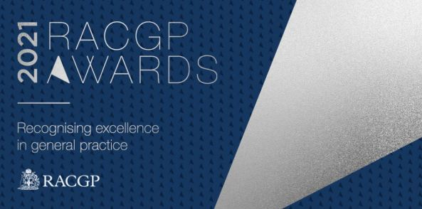 tile text '2021 RACGP Awards Recognising excellence in general practice' RACGP logo & navy background with vector spotlight to right of image